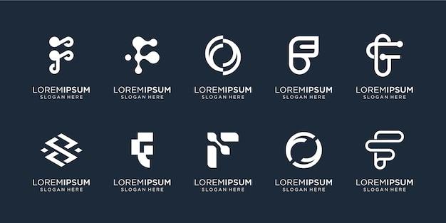抽象的なモノグラム文字fロゴテンプレートのセット