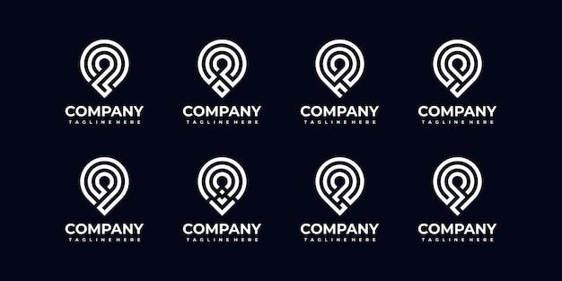 会社の抽象的なモノグラム文字ロゴコレクションのセット