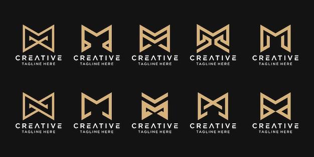 抽象的なモノグラム文字mロゴテンプレートのセットです。ファッション、建物、シンプルなビジネスのためのアイコン。