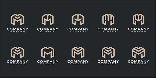 シンプルなファッション建築のビジネスのための抽象的なモノグラム文字mロゴテンプレートアイコンのセット