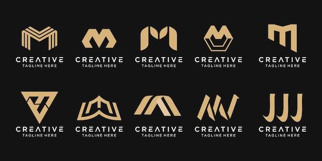 ファッションスポーツ自動車のビジネスのための抽象的なモノグラム文字mロゴテンプレートアイコンのセット