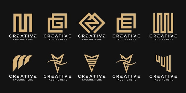 抽象的なモノグラム文字mロゴテンプレートのセットです。ファッション、スポーツ、高級車のビジネスのアイコン。