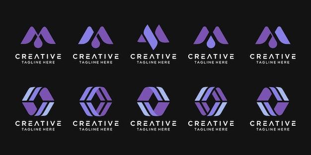 Набор абстрактных вензеля буква m логотип шаблон.