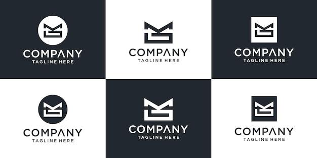 Набор абстрактных вензеля буква мг логотип значок шаблона.