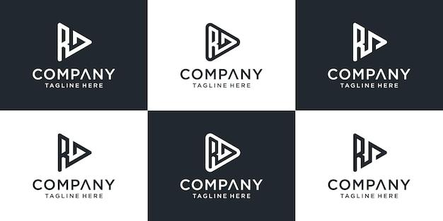 추상 모노그램 편지 rd 로고 템플릿 집합입니다. 비즈니스, 비디오, 건물, 기술 아이콘.