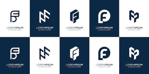 抽象的なモノグラムロゴデザインテンプレートのセット