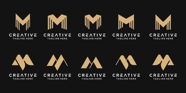 抽象的なモノグラムmロゴテンプレートのセットです。ファッション、スポーツ、テクノロジーのビジネスのためのアイコン。