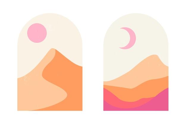 Набор абстрактных горных и пустынных пейзажей в арках в эстетике