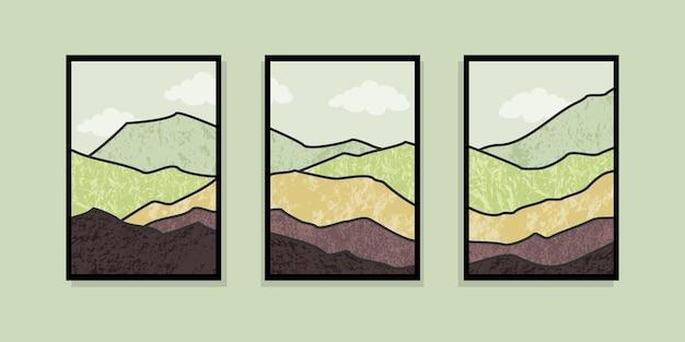 Набор абстрактной горной живописи. фон абстрактного искусства. премиум векторы