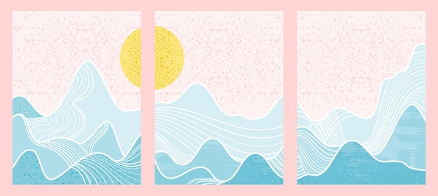抽象的な山の絵のセットです。抽象芸術の背景。プレミアムベクター