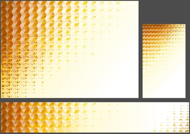 추상 오렌지 다각형 배경 세트