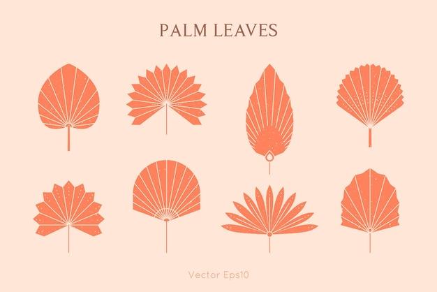 シンプルなスタイルの抽象的なヤシの葉のシルエットのセット。ベクトル熱帯の葉自由奔放に生きるエンブレム。ロゴ、パターン、tシャツのプリント、タトゥー、ソーシャルメディアの投稿、ストーリーを作成するための花のイラスト