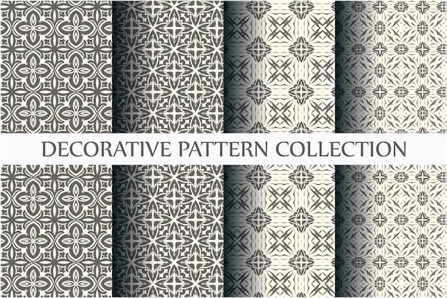 抽象的なパターンのセット。黒と白のシームレスなパターン