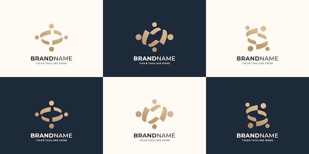 抽象的な人々のベクトルのロゴデザインのセットは、チームワーク多様性グループプレミアムベクトルを表します