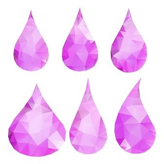 삼각형으로 구성된 추상 분홍색 방울 세트