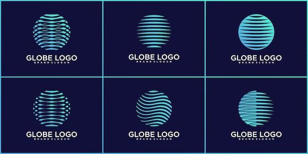 추상 행성 기술 로고 디자인 컬렉션 프리미엄 벡터의 집합
