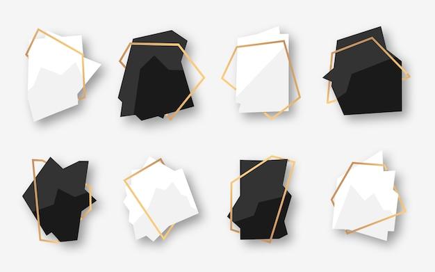 ゴールドフレームと抽象的な多角形の幾何学的な黒と白のバナーのセットです。テキストの空のテンプレート。豪華な装飾的なモダンな多面体フレーム。