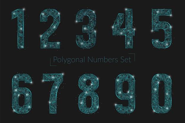 추상 다각형 숫자 세트는 스페이스 또는 날아다니는 유리의 블라스크 밤하늘에 있는 별처럼 보입니다.