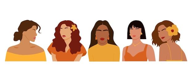 국제 여성의 추상 초상화의 집합입니다.