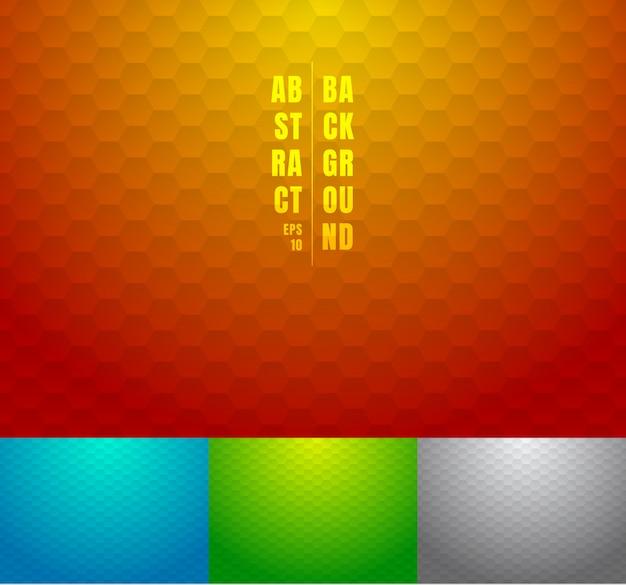 추상 빨강, 파랑, 녹색, 회색 육각형 벌집 배경 세트