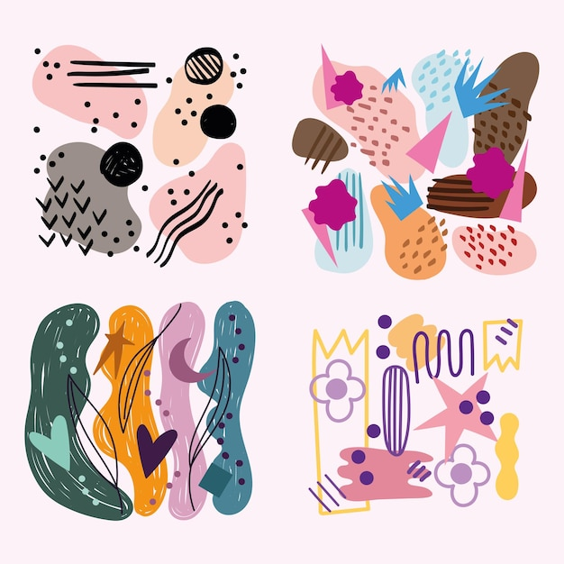 花の斑点とさまざまな形やテクスチャの抽象的なsのセット