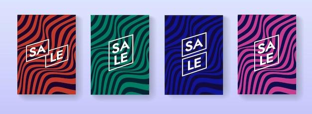 抽象販売ポスターのセットです。プロモーションプラカードコレクション。マーケティング用の幾何学的な縞模様の線形波状フレア。