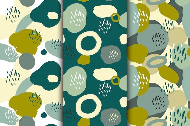 Набор абстрактных бесшовных рисованной шаблоны с различными творческими формами. иллюстрации.