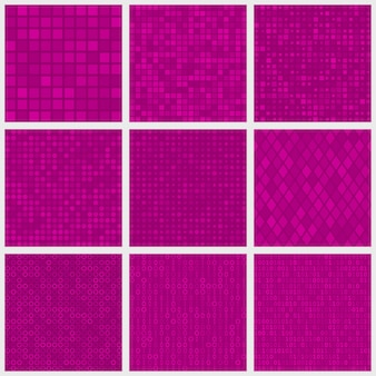 Набор абстрактных бесшовных узоров из мелких элементов или пикселей различной формы в фиолетовых тонах