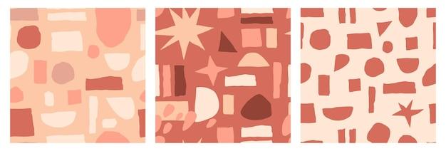 トレンディな素朴なパレットに手描きの抽象的な幾何学的なスポットを持つ抽象的なシームレス パターンのセット。