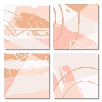 抽象的な形の背景のセットメンフィスパステルカラー現代の抽象的な背景セット