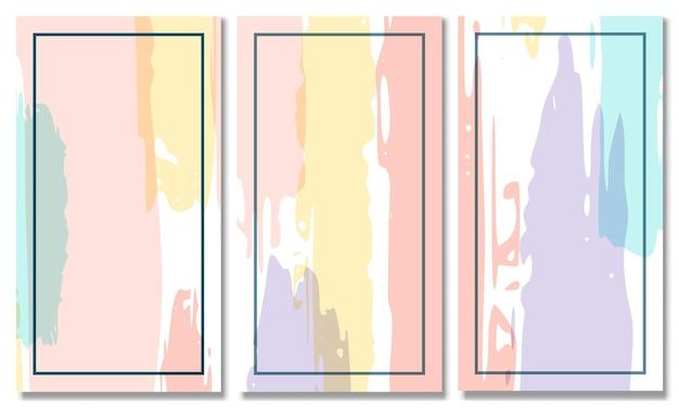 抽象的な形の背景のセットメンフィスパステルカラーモダンな抽象的なカバーセット