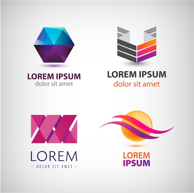 抽象的な形、抽象的なロゴ、分離されたアイコンのセット