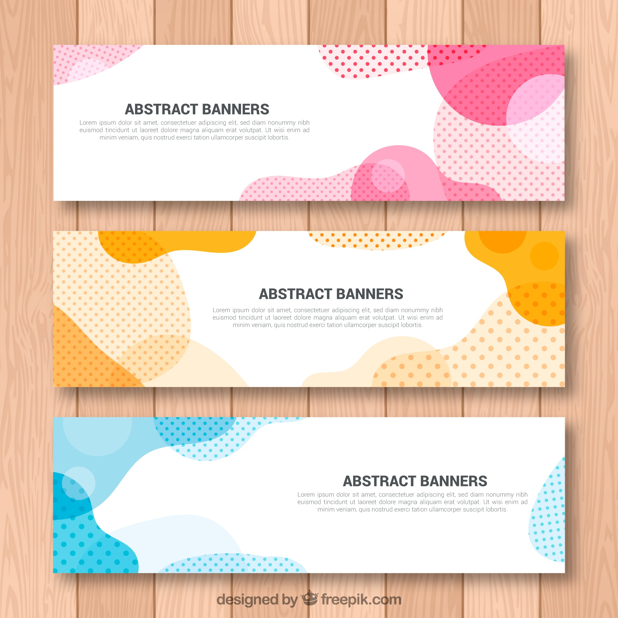 Set of abstract shapes banners