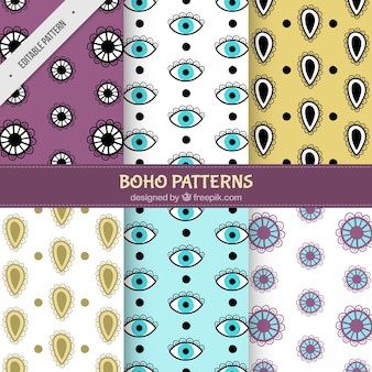 Set of abstract shapes patterns and hand drawn eyes