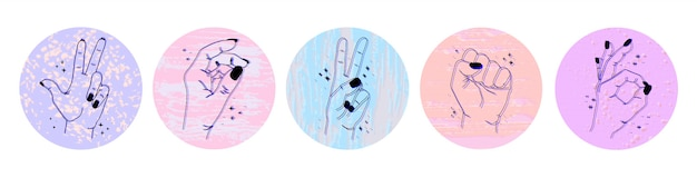 Набор абстрактных значков социальных сетей с различными жестами и руками на изолированных