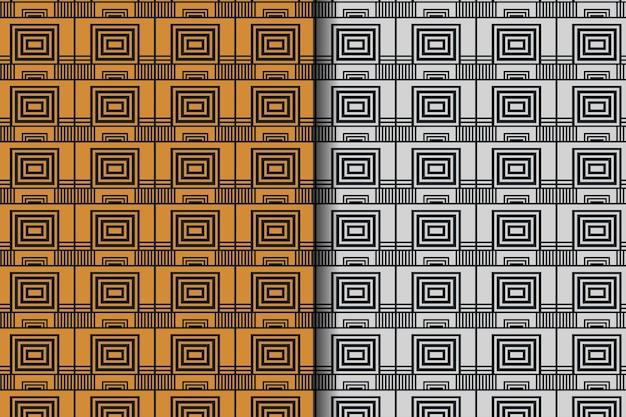 黒の背景の抽象的な正方形と長方形のシームレスなパターンデザインテンプレートのセット要素パターンは銀と金の色を使用します