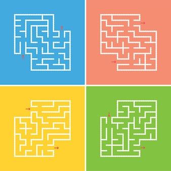 Набор абстрактных квадратных лабиринтов. Premium векторы