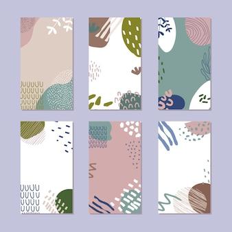 抽象的な物語の背景のセット。トレンディなスタイルで手描きの自然なパターン。図