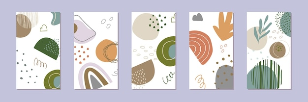 抽象的な物語の背景のセット。トレンディなスタイルで手描きの自然なパターン。