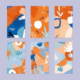 추상적 인 이야기 배너의 집합입니다. 최신 유행 스타일에 손으로 그려진 된 자연 패턴입니다.