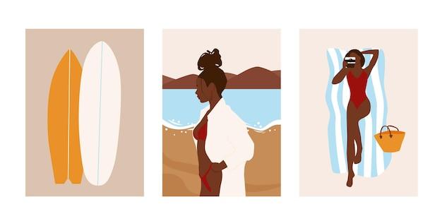 抽象的な夏のビーチのポストカードのセットです。