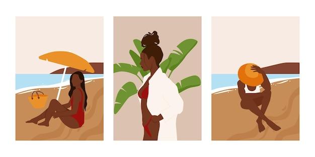해변에서 추상 여름 여성 초상화의 집합입니다.