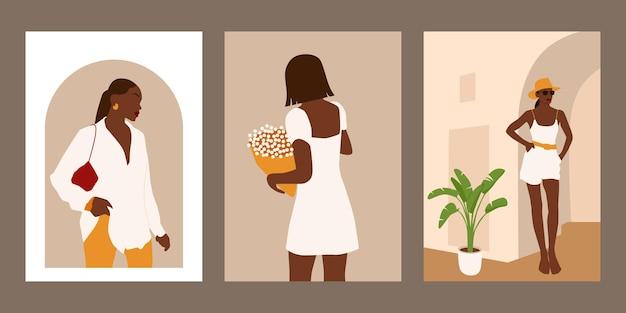 추상 여름 여성 초상화의 집합입니다.