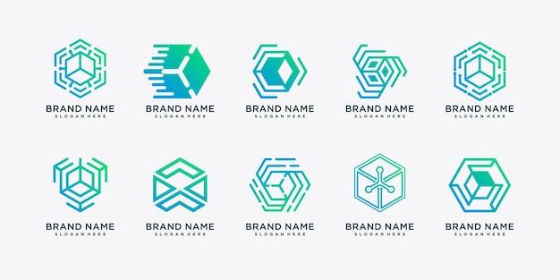 Набор абстрактных технологий логотипа с творческой концепцией