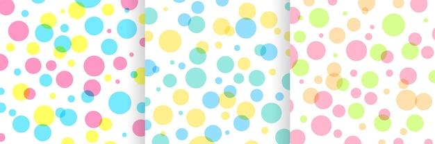 Набор абстрактных модных цветных узоров в горошек на белом фоне красочная коллекция случайных точек