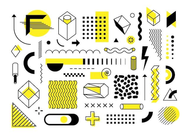 밝은 노란색 요소가 있는 추상 유행 기하학적 모양 및 디자인 요소 집합