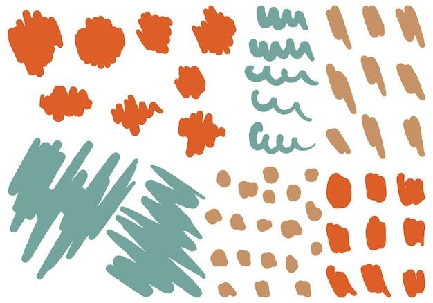 추상적인 다양한 모양과 낙서 개체의 집합입니다. 손으로 그린된 벡터 일러스트 레이 션 흰색 절연입니다. 디자인 인쇄, 배경, 벽지, 카드, 장식, 스티커를 위한 현대적이고 현대적인 트렌디한 요소