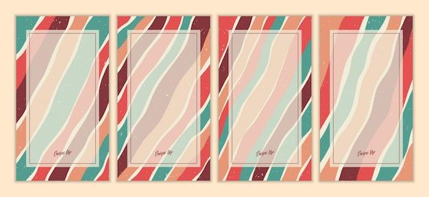 추상 빈티지 이야기 템플릿 집합입니다. 손으로 그린 낙서 다양 한 물결 모양. 현대 현대 유행 삽화.