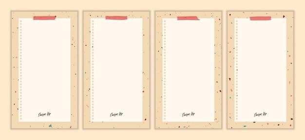 추상 빈티지 테라 이야기 템플릿 집합입니다. 손으로 그린 낙서 다양 한 모양, 잎, 반점, 방울. 현대 현대 유행 삽화.