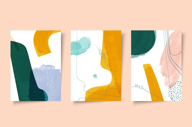 抽象的な水彩画カバーのセット